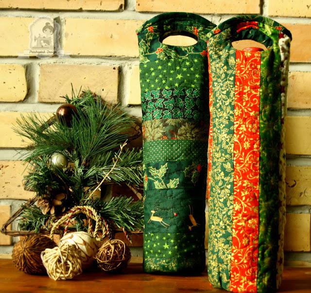 Karácsonyi pacthwork bortartó tasak – ajándékozási ötlet férfiaknak