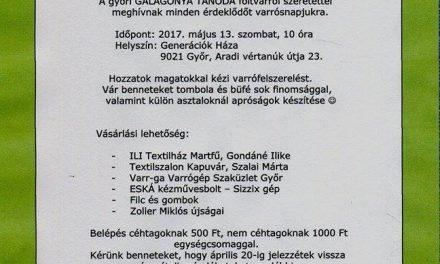 Győri Galagonya tanoda varrós nap 2017.05.13