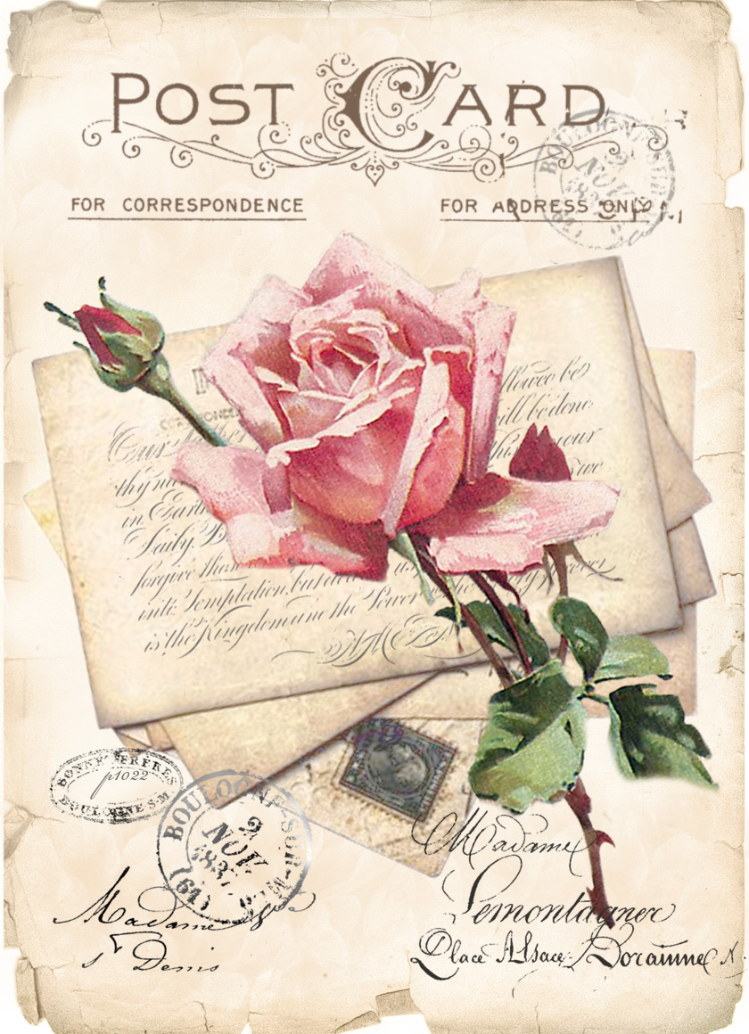 Digital collage vintage rose