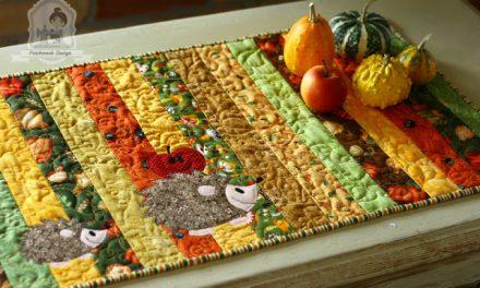 Őszi patchwork futó sünikkel