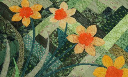 Nárciszos falikép – art quilt